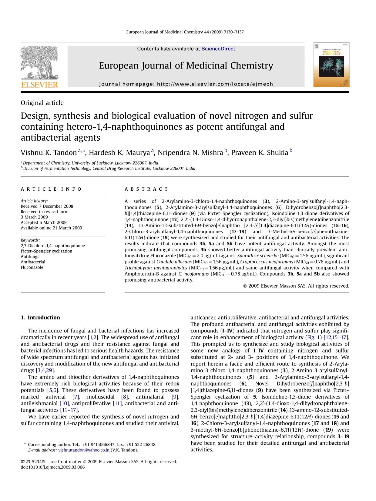 Book cover Design, synthesis and biological evaluation of novel nitrogen and sulfur containing hetero-1,4-naphthoquinones as potent antifungal and antibacterial agents