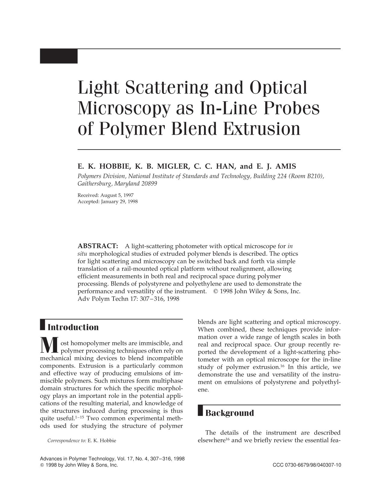 Book cover Light scattering and optical microscopy as in-line probes of polymer blend extrusion