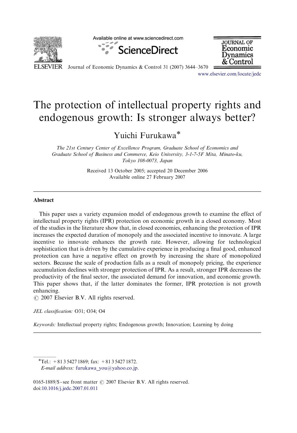 หน้าปก The protection of intellectual property rights and endogenous growth: Is stronger always better?