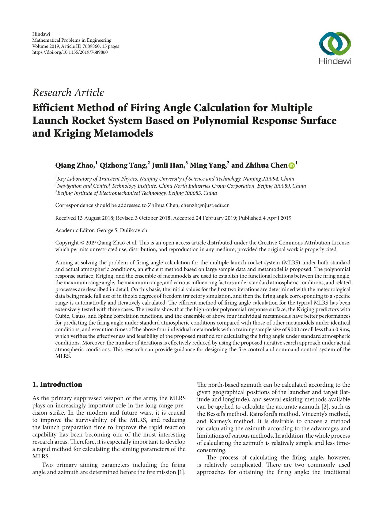 Book cover Efficient Method of Firing Angle Calculation for Multiple Launch Rocket System Based on Polynomial Response Surface and Kriging Metamodels