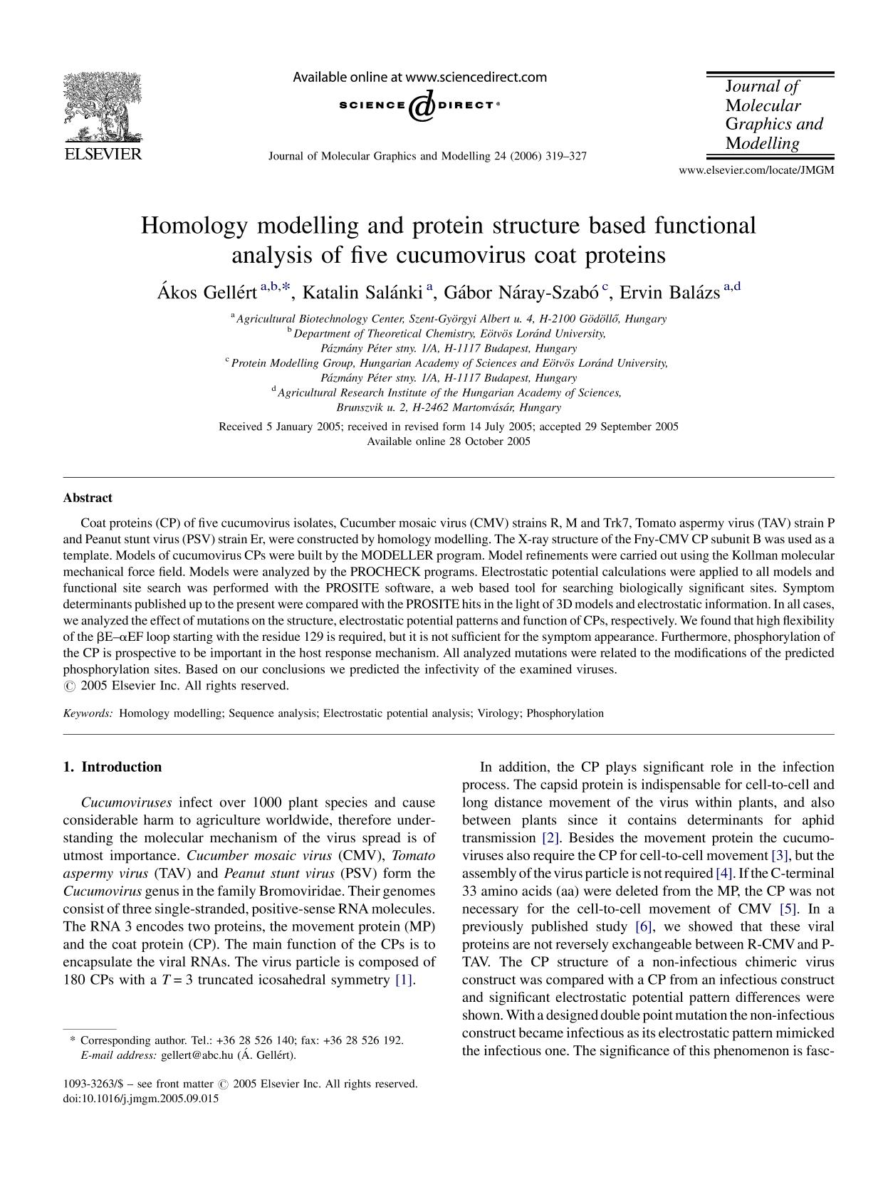 Обложка книги Homology modelling and protein structure based functional analysis of five cucumovirus coat proteins