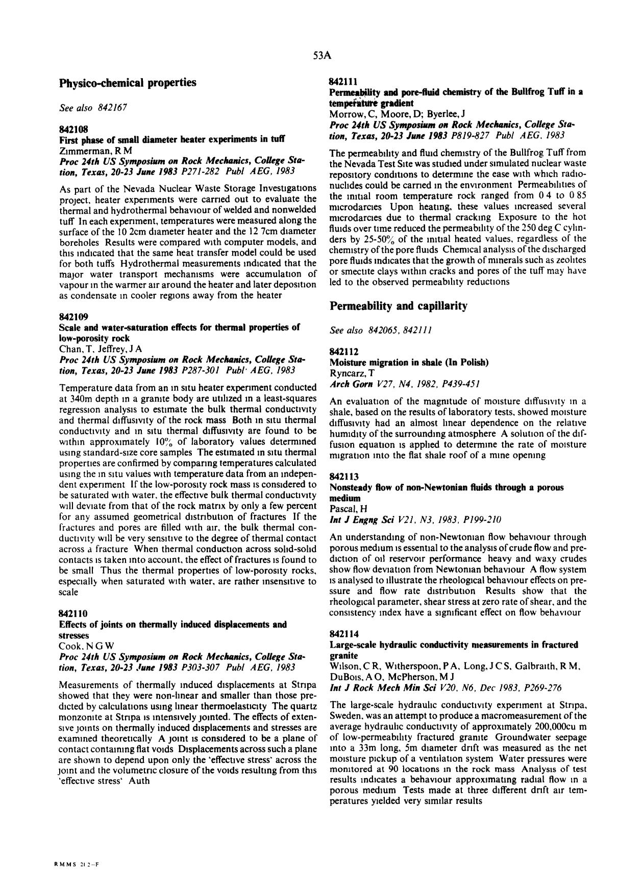 Book cover Large-scale hydraulic conductivity measurements in fractured granite : Wilson, C R; Witherspoon, P A; Long, J C S; Galbraith, R N; DuBois, A O; McPherson, M J Int J Rock Mech Min SciV20, N6, Dec 1983, P269–276