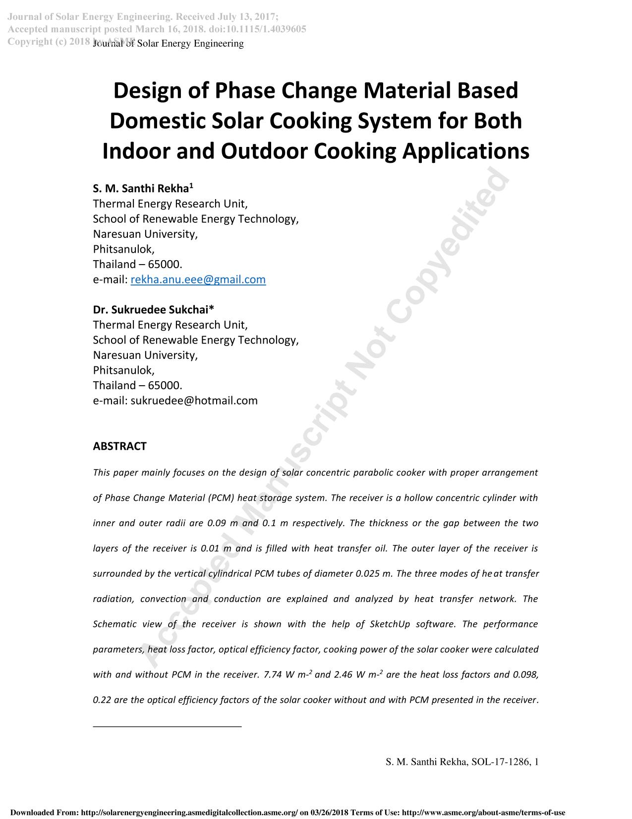 Book cover Design of Phase Change Material Based Domestic Solar Cooking System for Both Indoor and Outdoor Cooking Applications