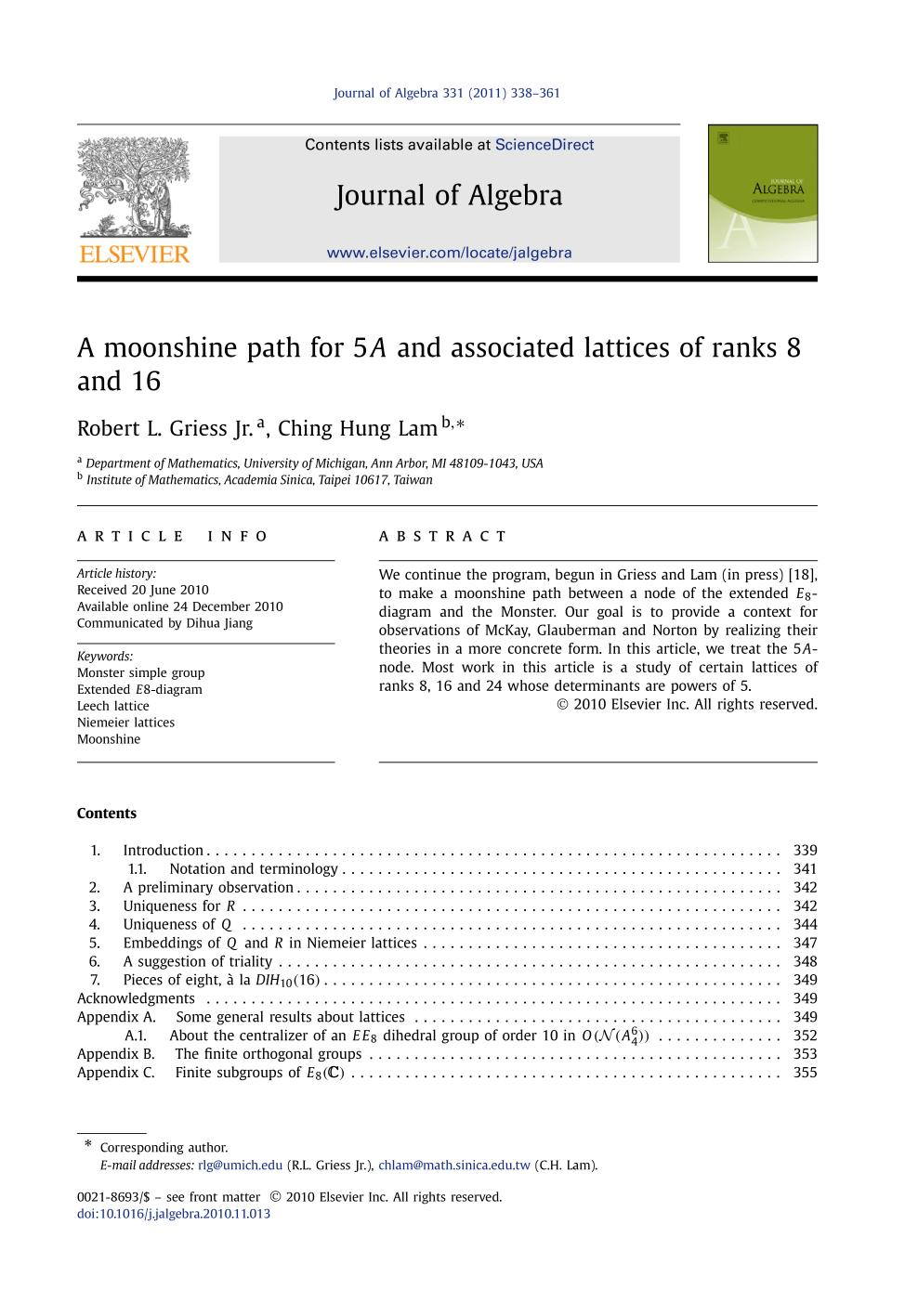 Book cover A moonshine path for 5A and associated lattices of ranks 8 and 16