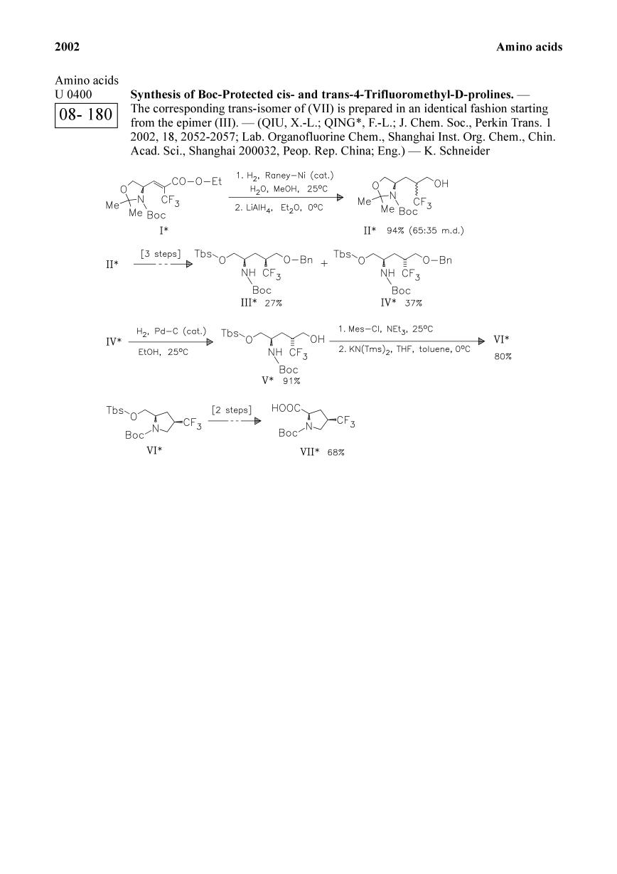 Book cover Synthesis of Boc-Protected cis- and trans-4-Trifluoromethyl-D-prolines.<span></span>