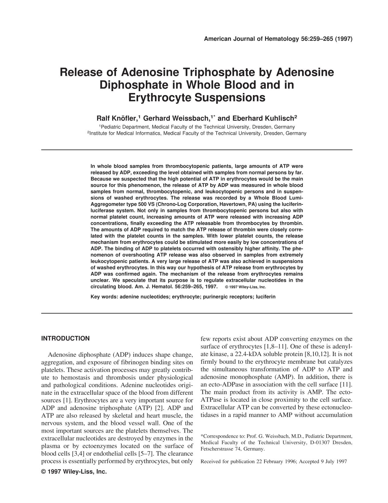Book cover Release of adenosine triphosphate by adenosine diphosphate in whole blood and in erythrocyte suspensions