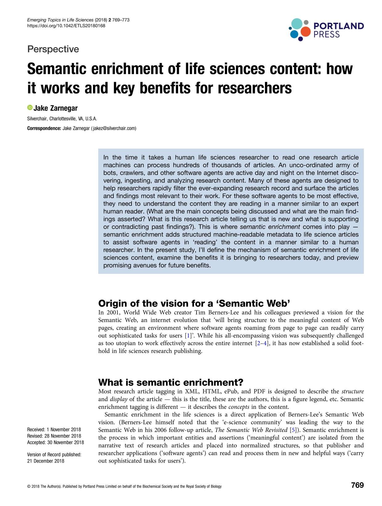 Book cover Semantic enrichment of life sciences content: how it works and key benefits for researchers