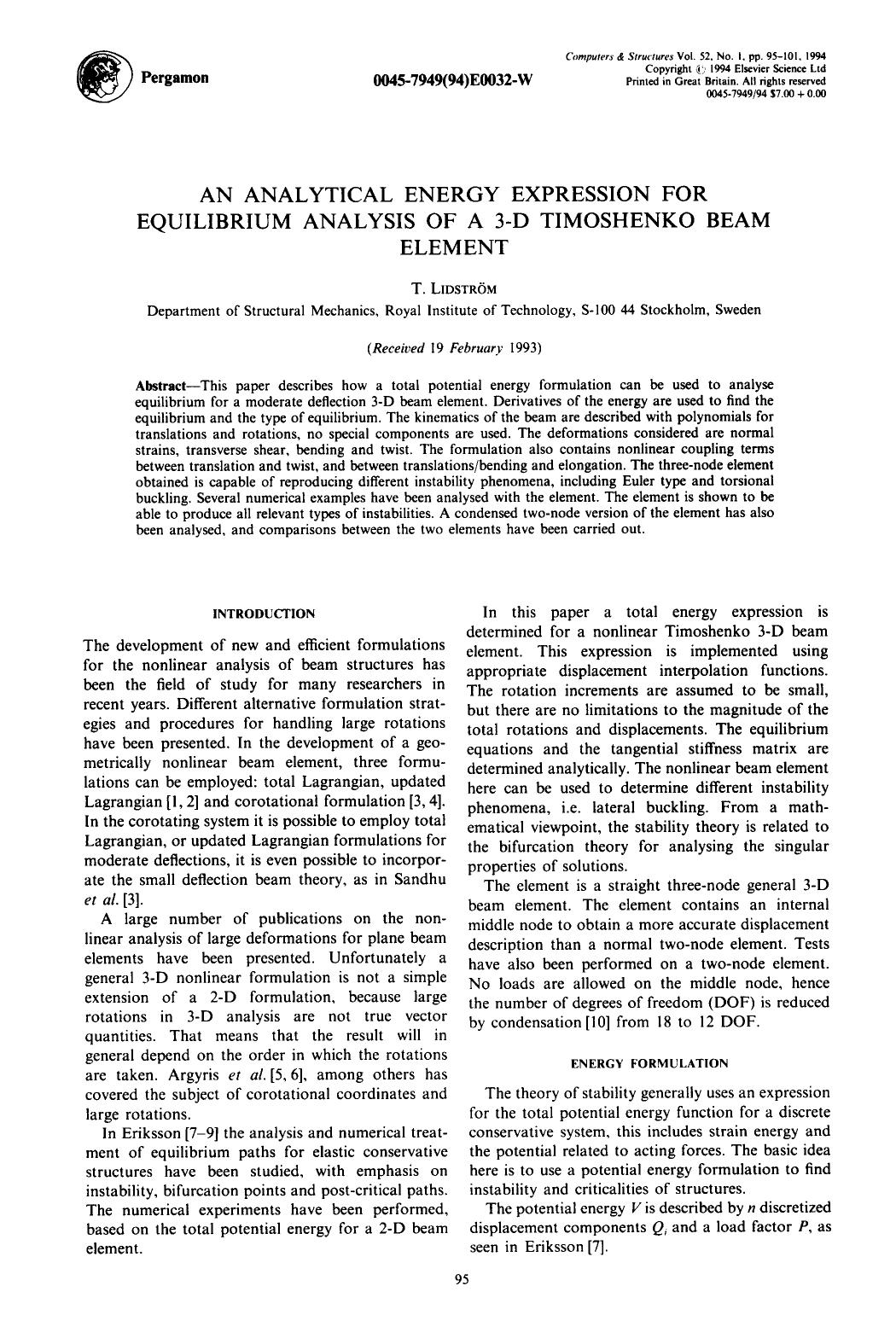 Book cover An analytical energy expression for equilibrium analysis of a 3-D timoshenko beam element