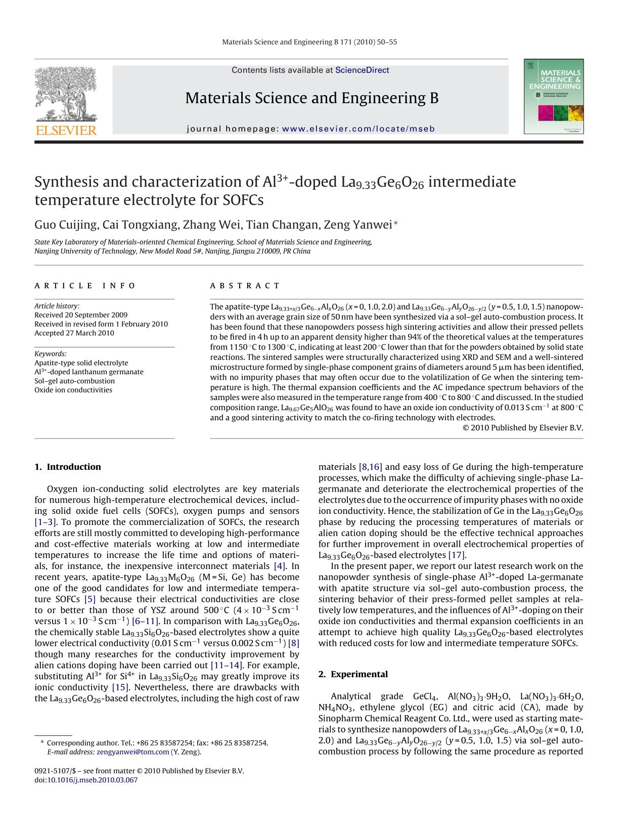 Book cover Synthesis and characterization of Al3+-doped La9.33Ge6O26 intermediate temperature electrolyte for SOFCs
