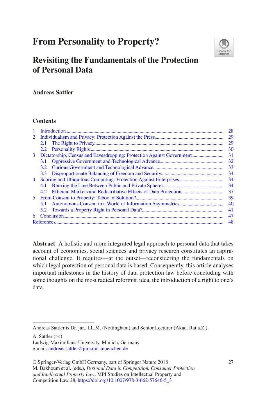 Book cover [MPI Studies on Intellectual Property and Competition Law] Personal Data in Competition, Consumer Protection and Intellectual Property Law Volume 28 (Towards a Holistic Approach?) || From Personality to Property?