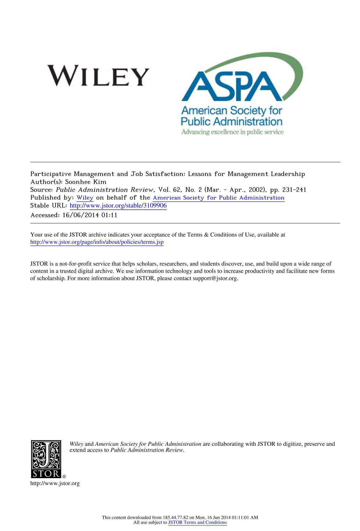 Book cover Participative Management and Job Satisfaction: Lessons for Management Leadership
