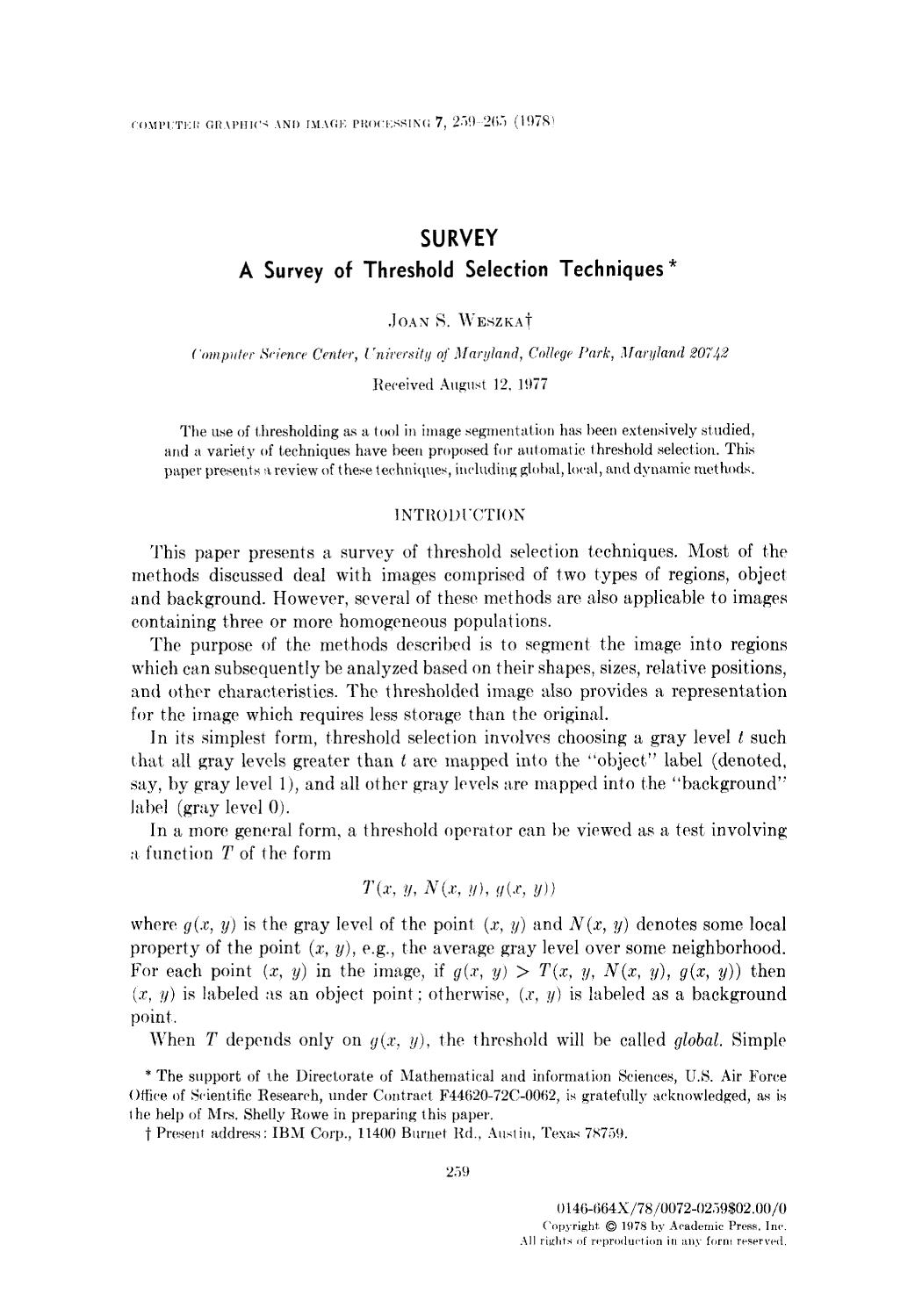 Book cover A survey of threshold selection techniques