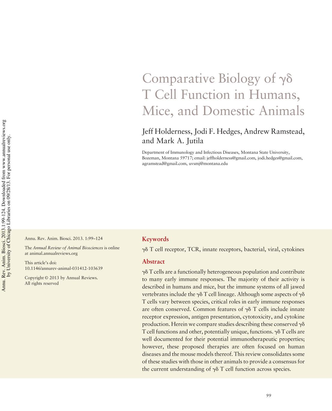 Book cover Comparative Biology of γδ T Cell Function in Humans, Mice, and Domestic Animals