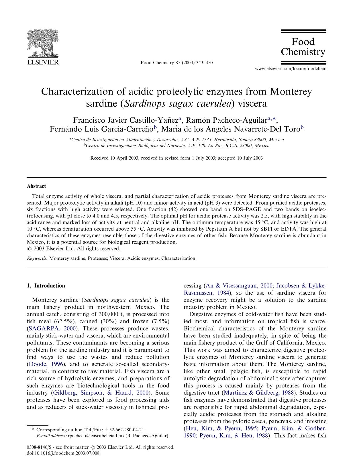 Book cover Characterization of acidic proteolytic enzymes from Monterey sardine (Sardinops sagax caerulea) viscera