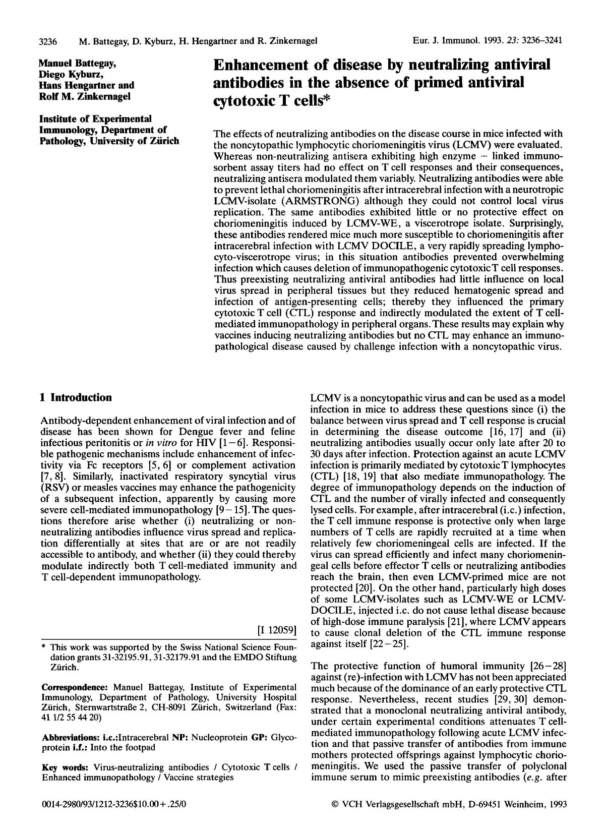 Book cover Enhancement of disease by neutralizing antiviral antibodies in the absence of primed antiviral cytotoxic T cells