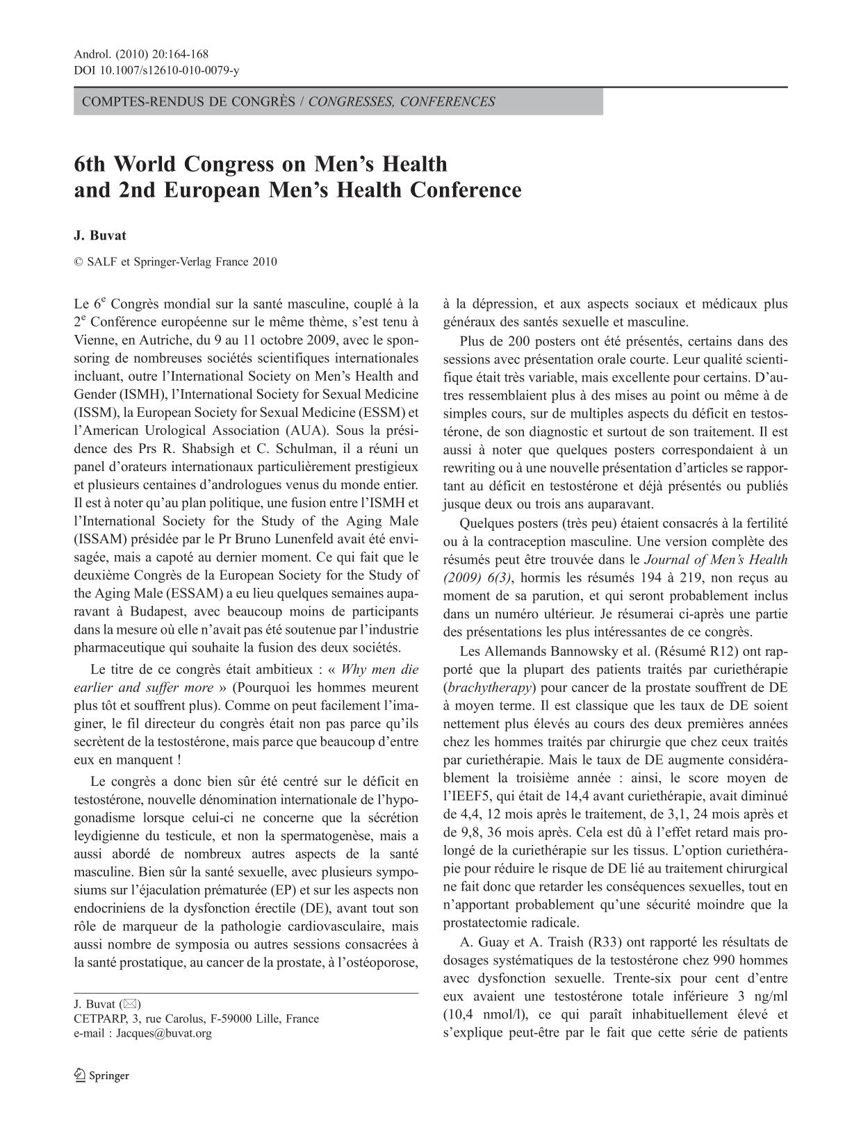 Book cover 6th World Congress on Men's Health and 2nd European Men's Health Conference