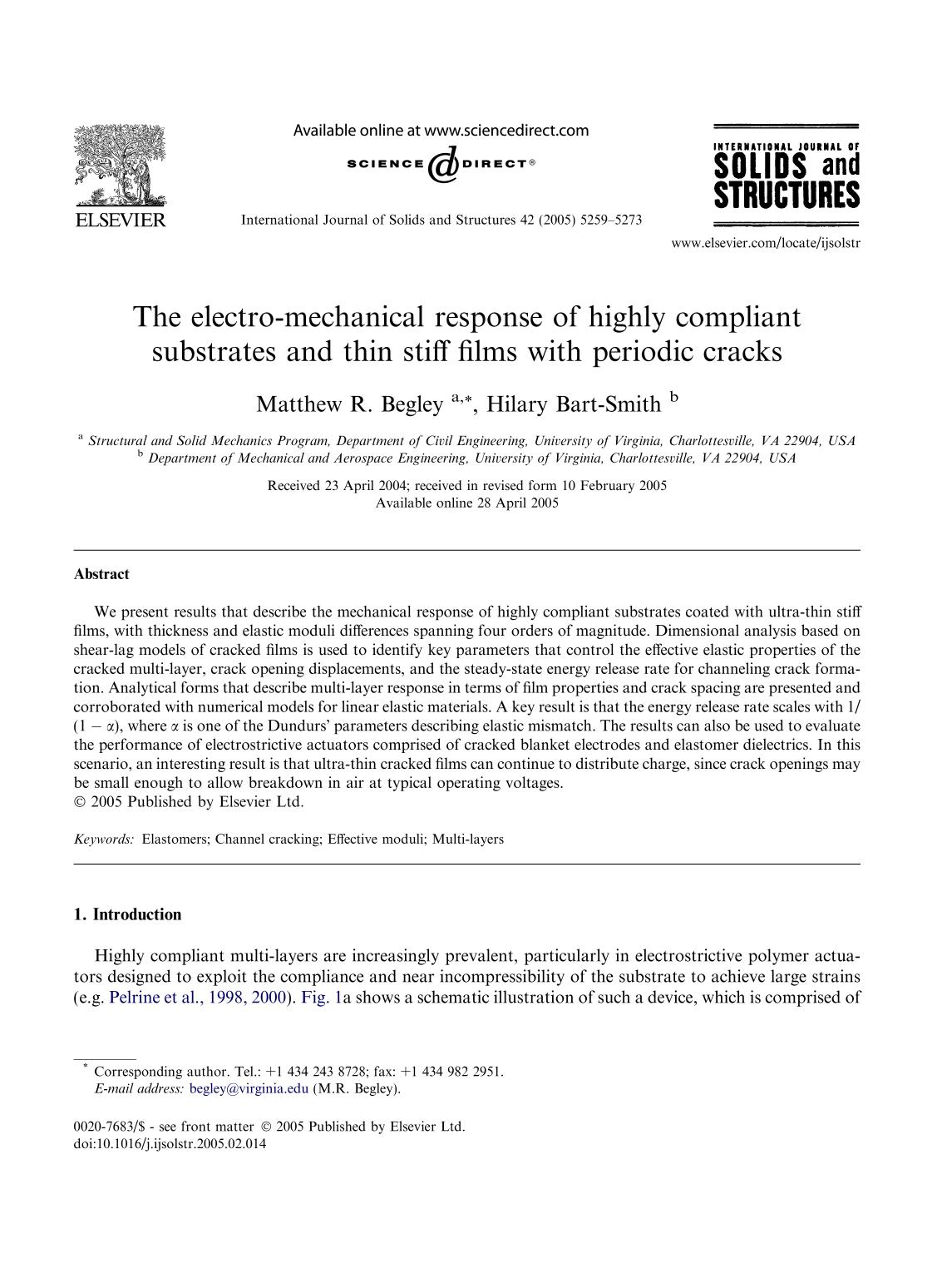 Book cover The electro-mechanical response of highly compliant substrates and thin stiff films with periodic cracks