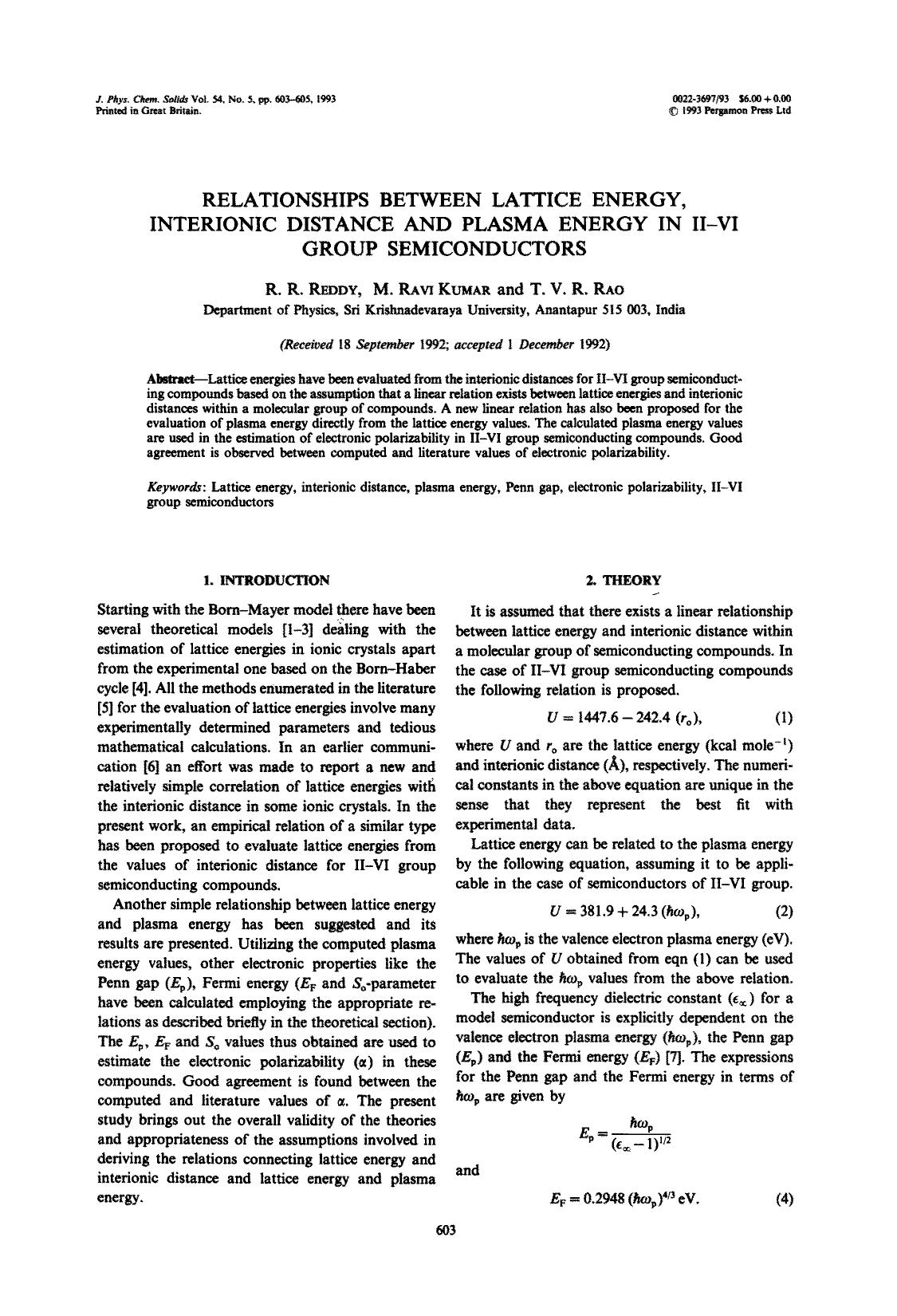Book cover Relationships between lattice energy, interionic distance and plasma energy in II–VI group semiconductors