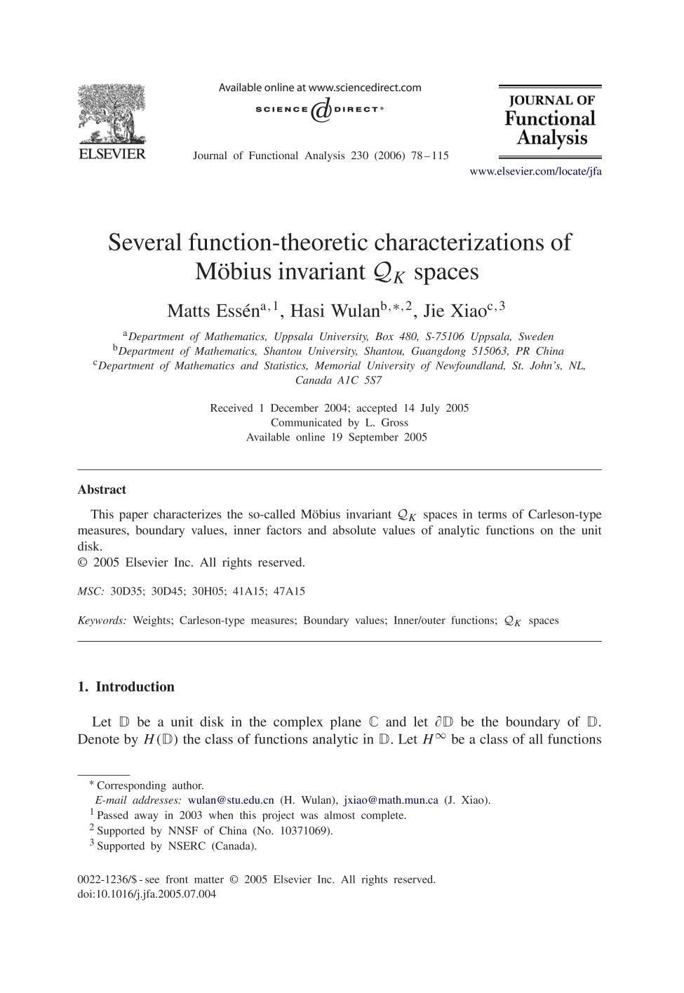Book cover Several function-theoretic characterizations of Möbius invariant spaces