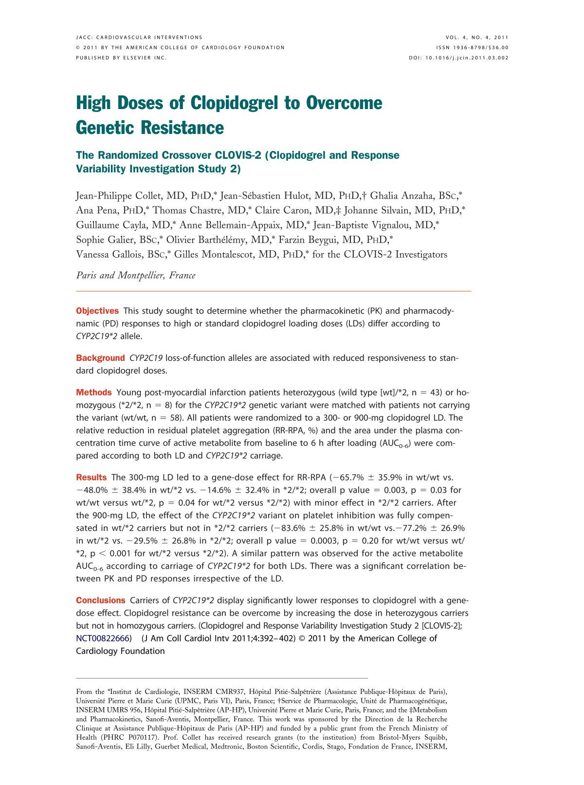 Book cover High Doses of Clopidogrel to Overcome Genetic Resistance: The Randomized Crossover CLOVIS-2 (Clopidogrel and Response Variability Investigation Study 2)