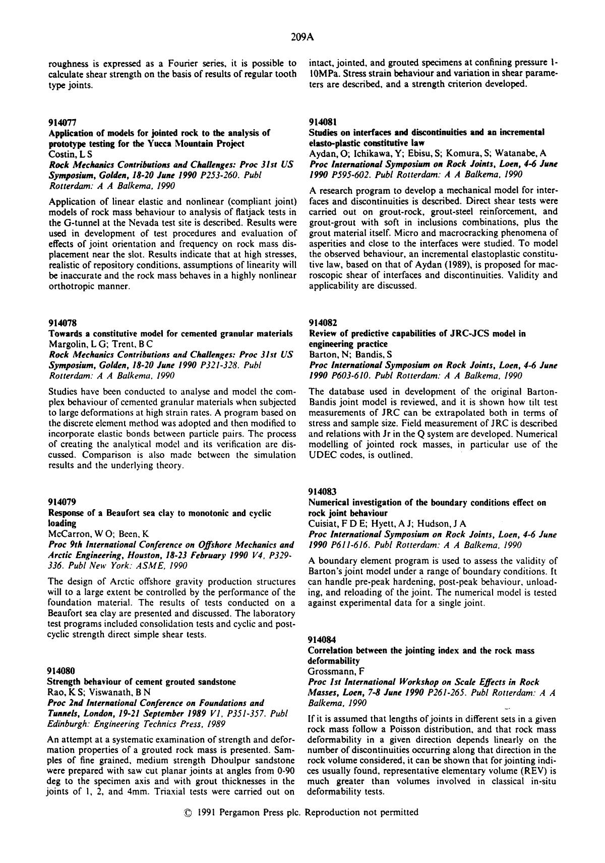 Book cover Review of predictive capabilities of JRC-JCS model in engineering practice : Barton, N; Bandis, S Proc International Symposium on Rock Joints, Loen, 4–6 June 1990P603–610. Publ Rotterdam: A A Balkema, 1990