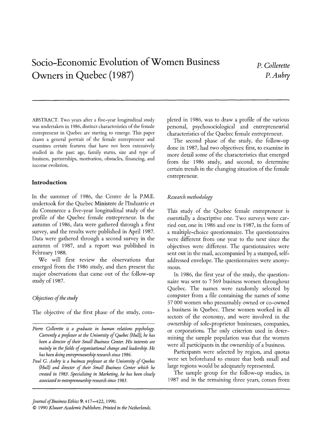 Book cover Socio-economic evolution of women business owners in Quebec (1987)