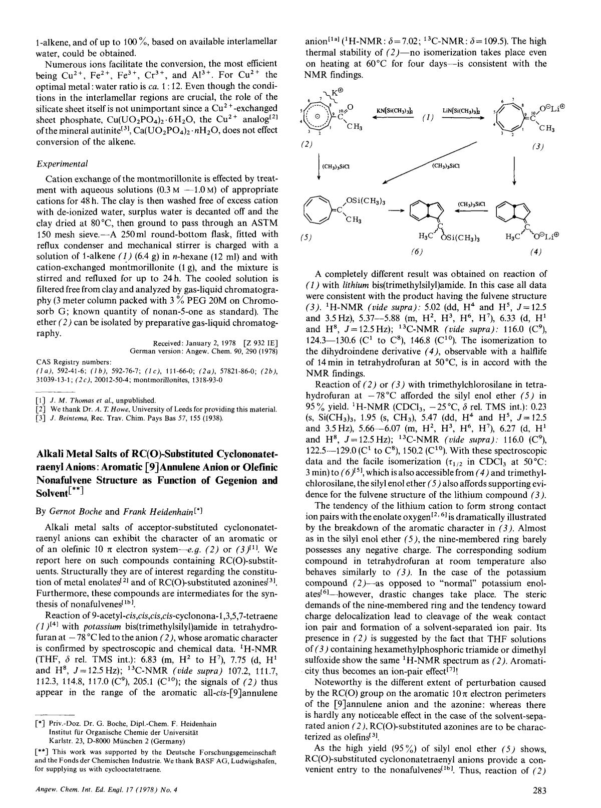 Book cover Alkali Metal Salts of RC(O)-Substituted Cyclononatetraenyl Anions: Aromatic [9] Annulene Anion or Olefinic Nonafulvene Structure as Function of Gegenion and Solvent