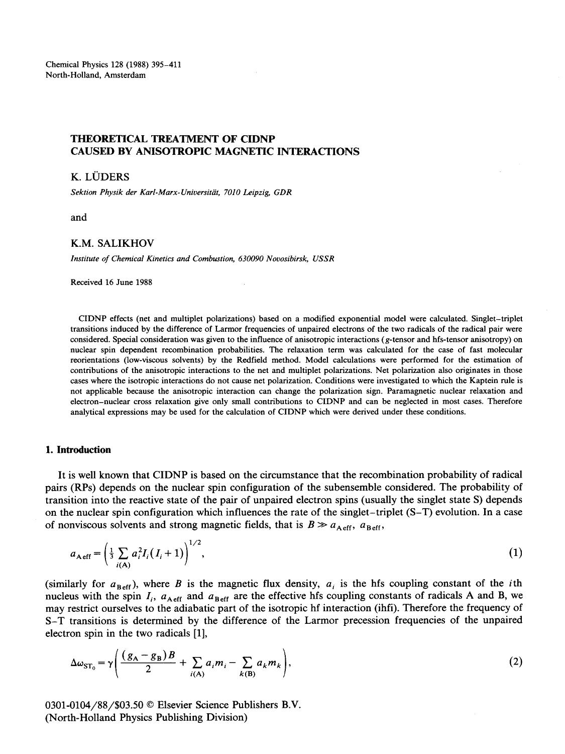 Book cover Theoretical treatment of CIDNP caused by anisotropic magnetic interactions