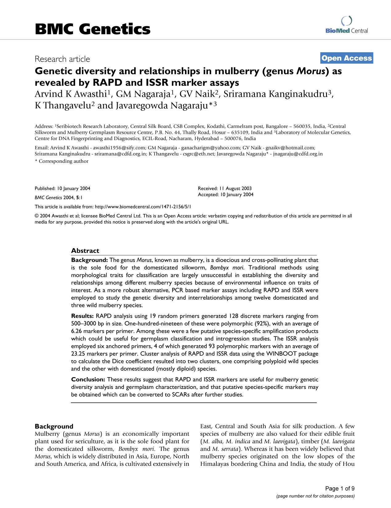 Book cover Genetic diversity and relationships in mulberry (genusMorus) as revealed by RAPD and ISSR marker assays