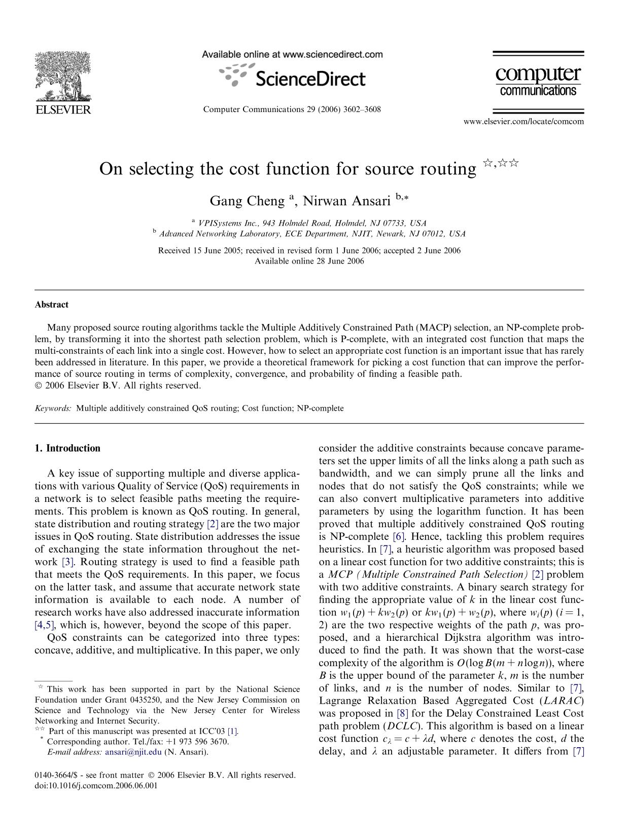 Portada del libro On selecting the cost function for source routing