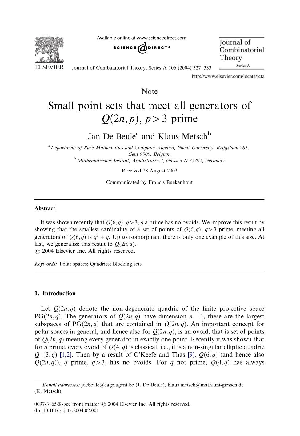 Book cover Small point sets that meet all generators of Q(2n,p), p>3 prime