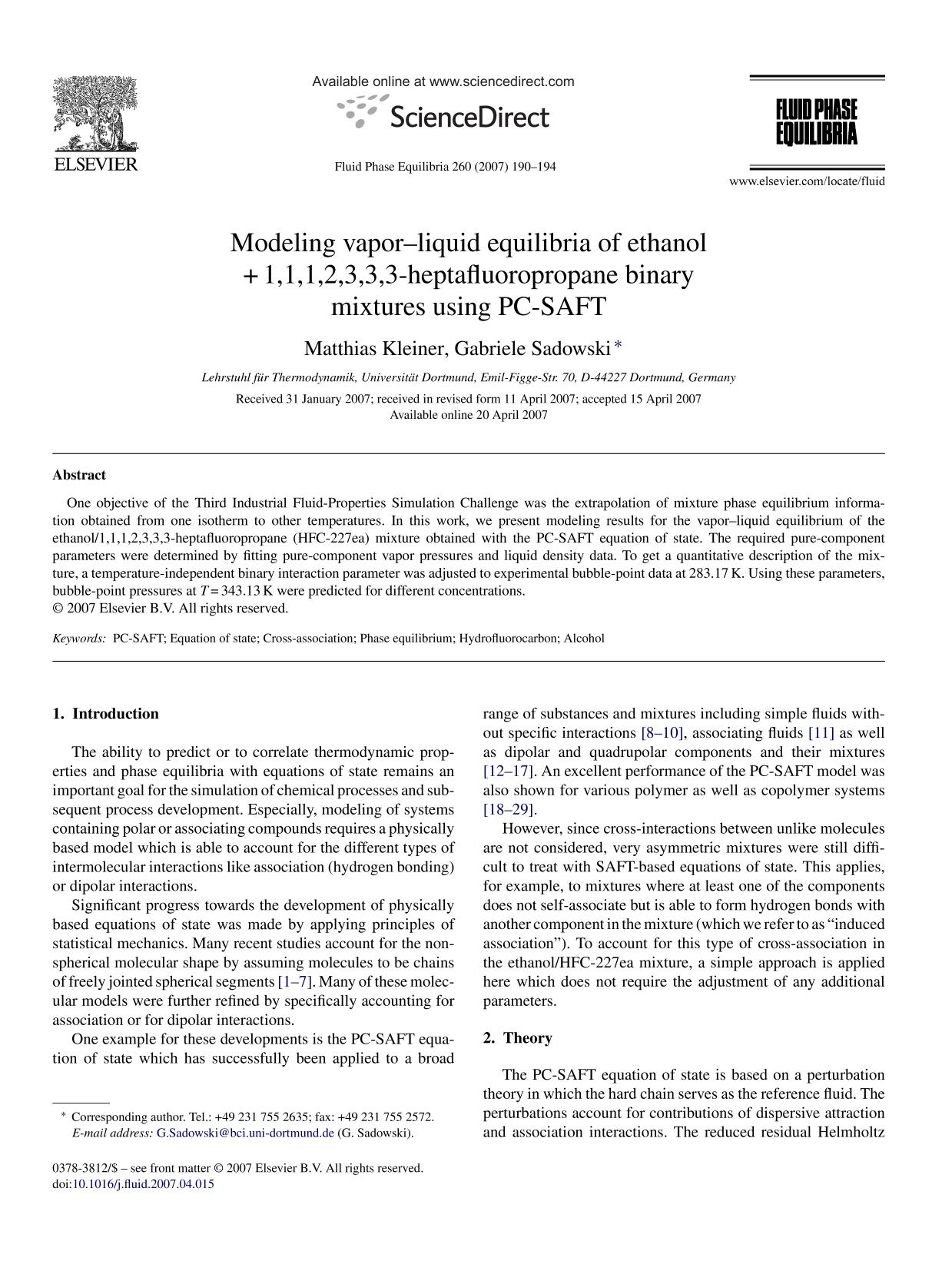 หน้าปก Modeling vapor–liquid equilibria of ethanol + 1,1,1,2,3,3,3-heptafluoropropane binary mixtures using PC-SAFT