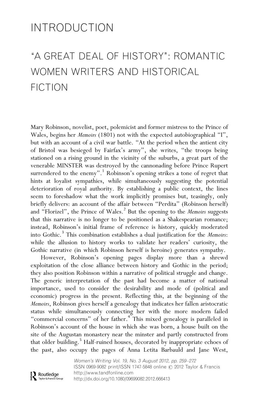 """Book cover """"A GREAT DEAL OF HISTORY"""": ROMANTIC WOMEN WRITERS AND HISTORICAL FICTION"""