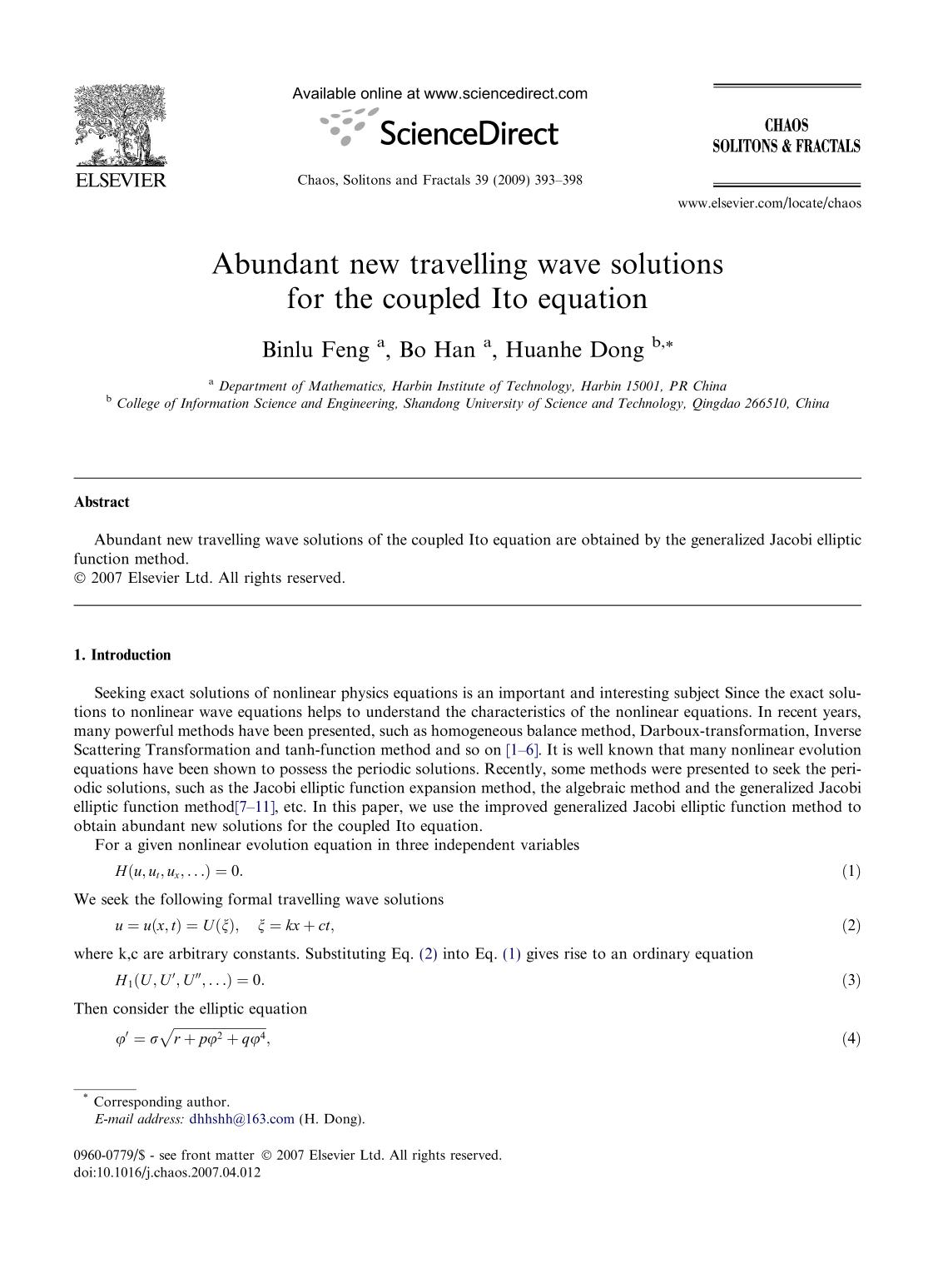Book cover Abundant new travelling wave solutions for the coupled Ito equation
