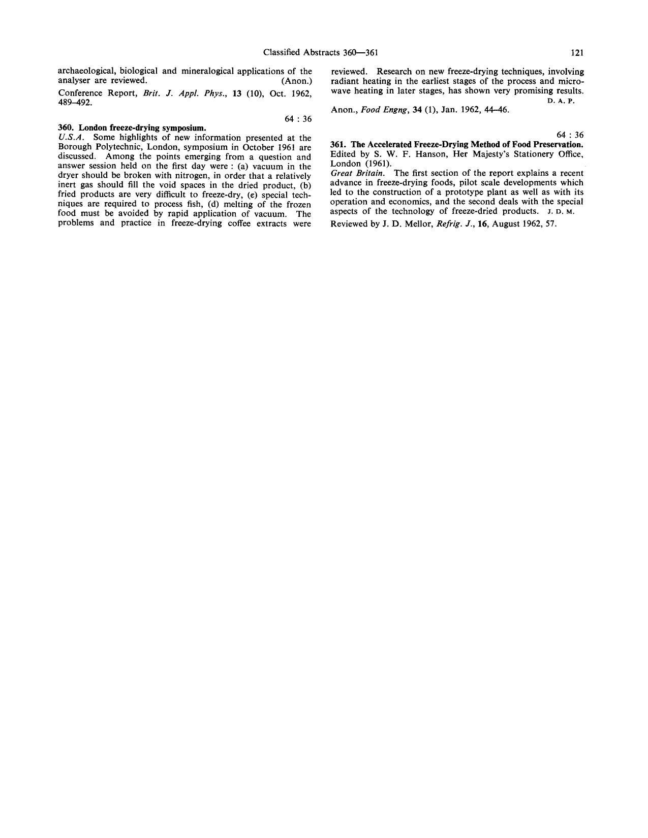 Buchcover The Accelerated freeze-drying method of food preservation: Reviewed by J.D. Mellor, Refrig. J., 16, August 1962, 57
