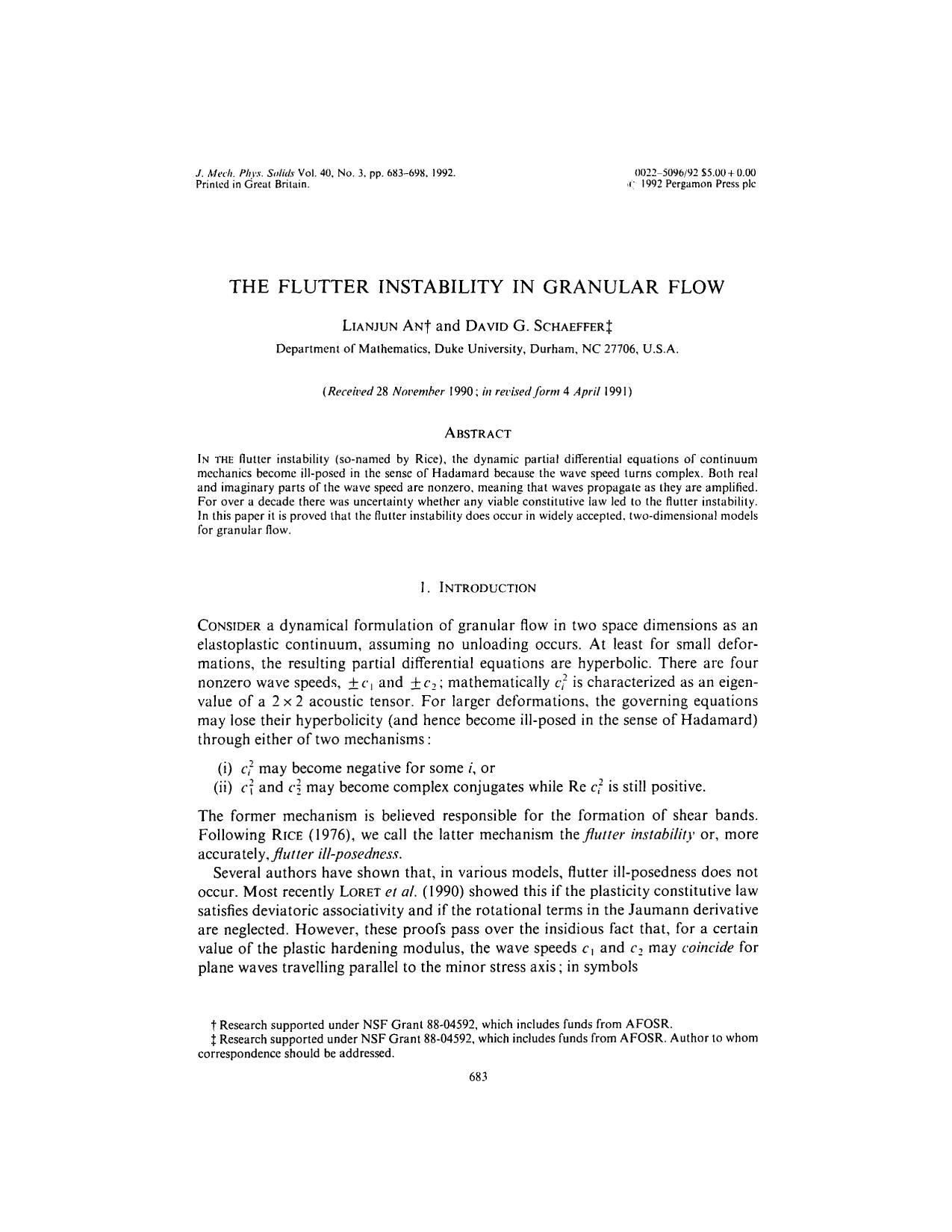 Book cover The flutter instability in granular flow