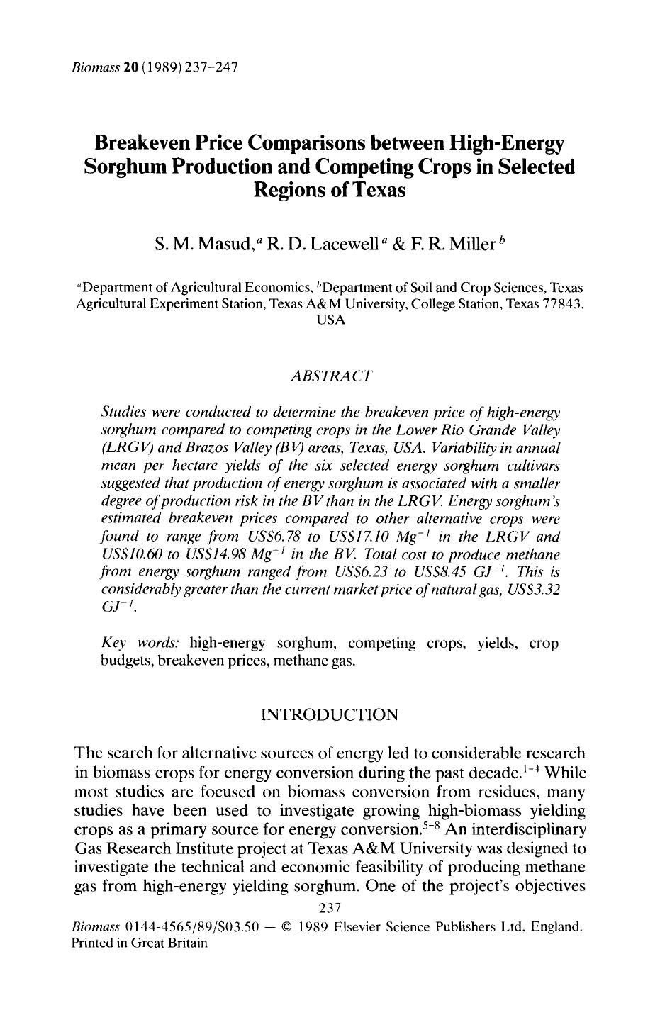 Book cover Breakeven price comparisons between high-energy sorghum production and competing crops in selected regions of Texas