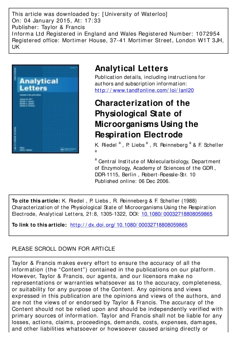 Book cover Characterization of the Physiological State of Microorganisms Using the Respiration Electrode