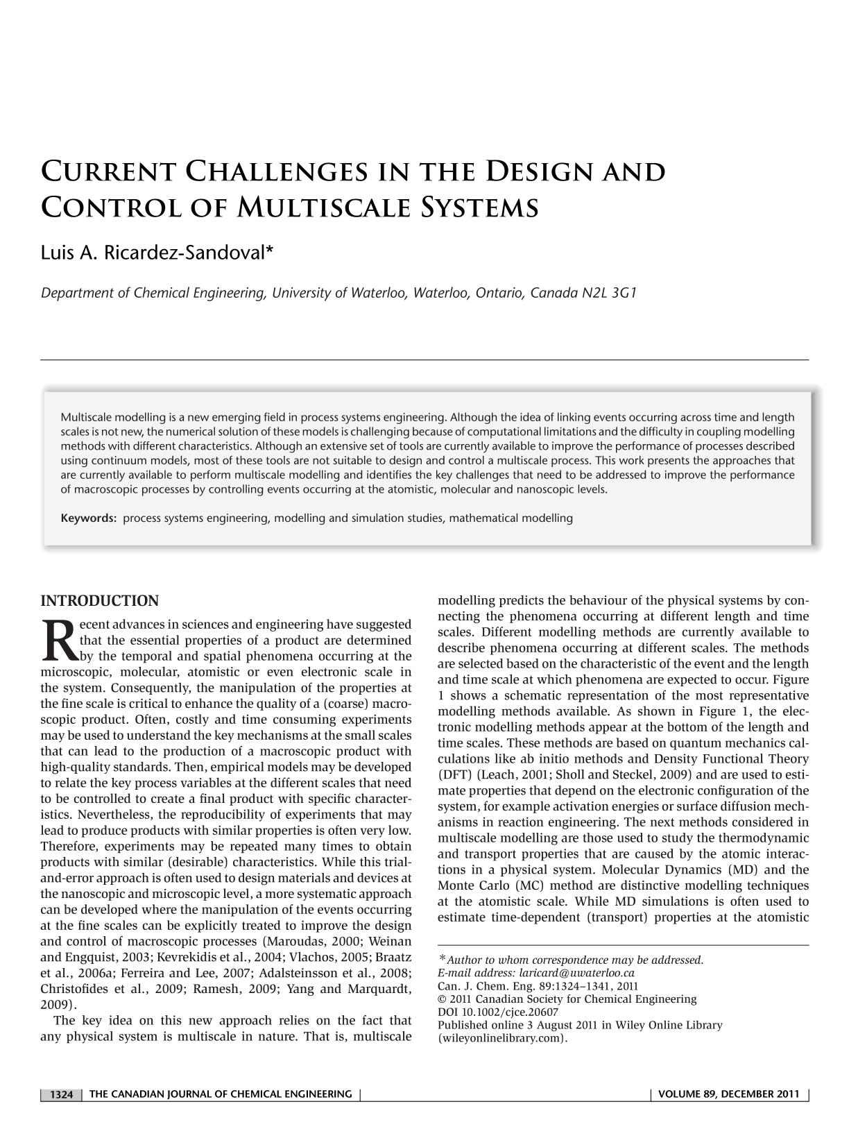 Book cover Current challenges in the design and control of multiscale systems