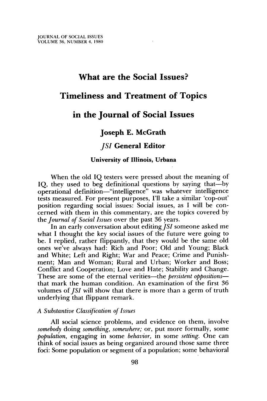 Book cover What are the Social Issues?: Timeliness and Treatment of Topics in the Journal of Social Issues