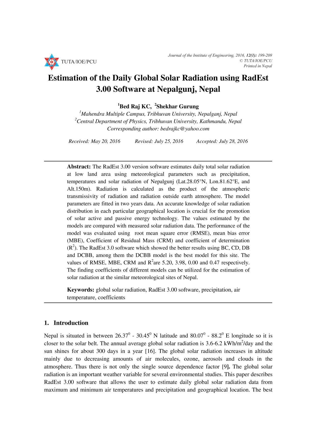 Book cover Estimation of the Daily Global Solar Radiation using RadEst 3.00 Software at Nepalgunj, Nepal
