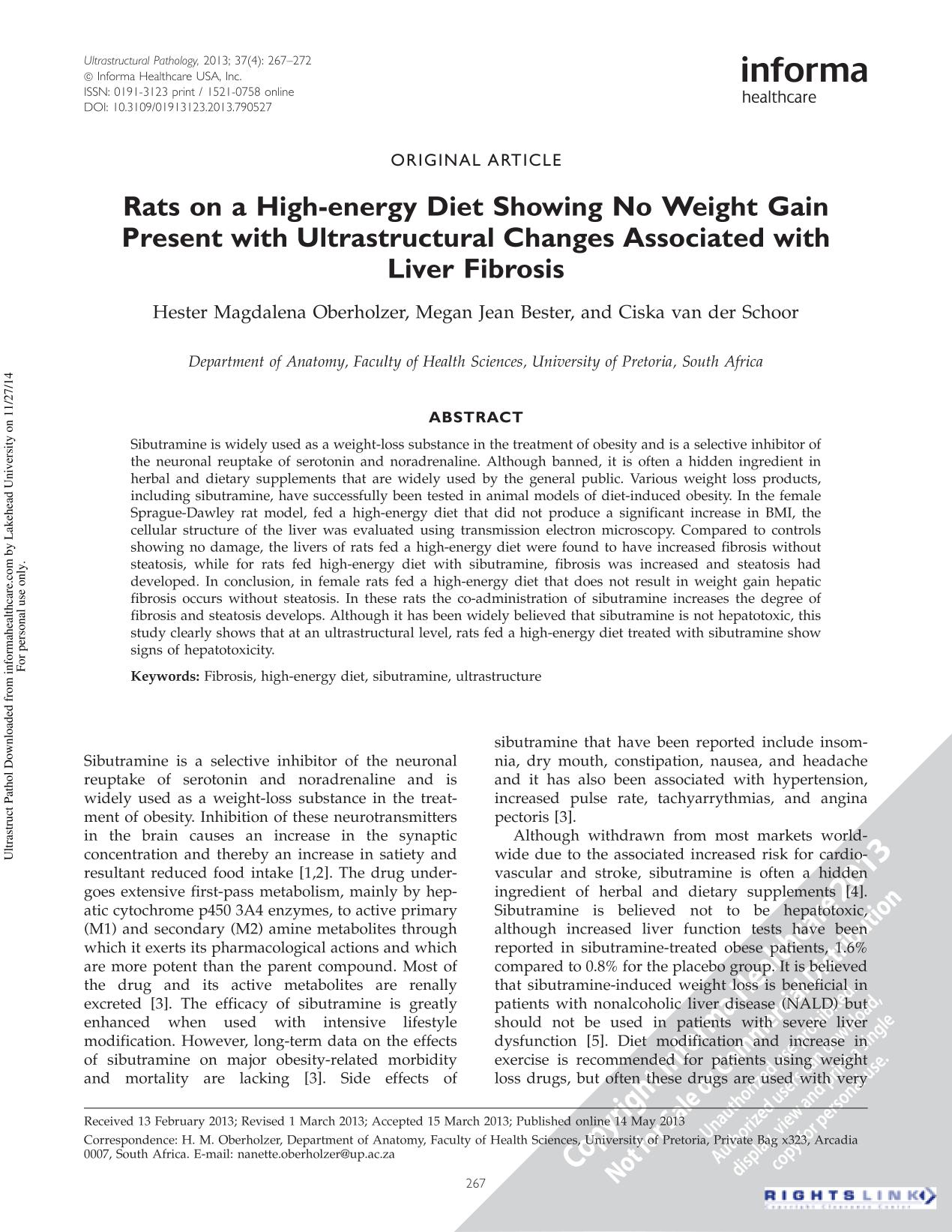 Book cover Rats on a High-energy Diet Showing No Weight Gain Present with Ultrastructural Changes Associated with Liver Fibrosis