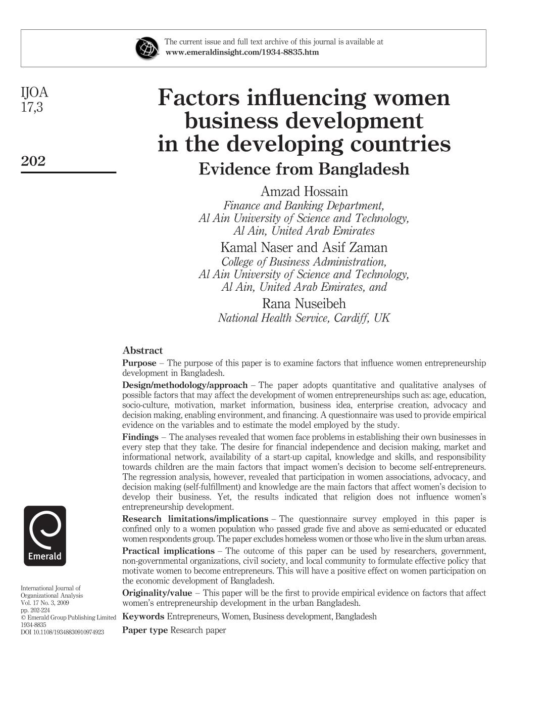 Book cover Factors influencing women business development in the developing countries
