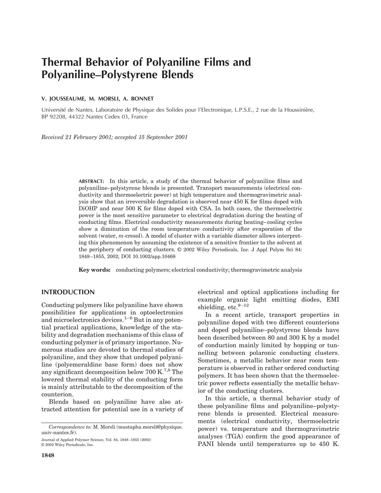 Book cover Thermal behavior of polyaniline films and polyaniline–polystyrene blends