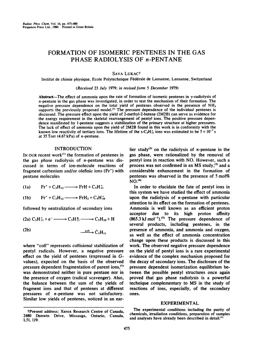 Book cover Formation of isomeric pentenes in the gas phase radiolysis of n-pentane
