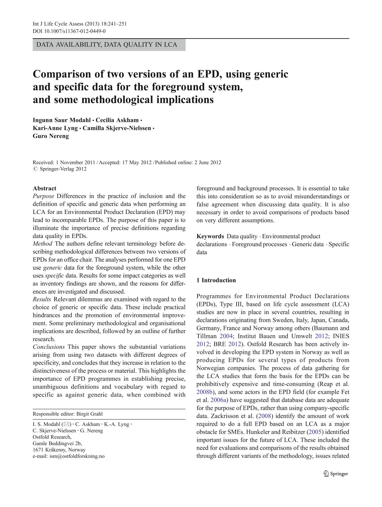 Book cover Comparison of two versions of an EPD, using generic and specific data for the foreground system, and some methodological implications