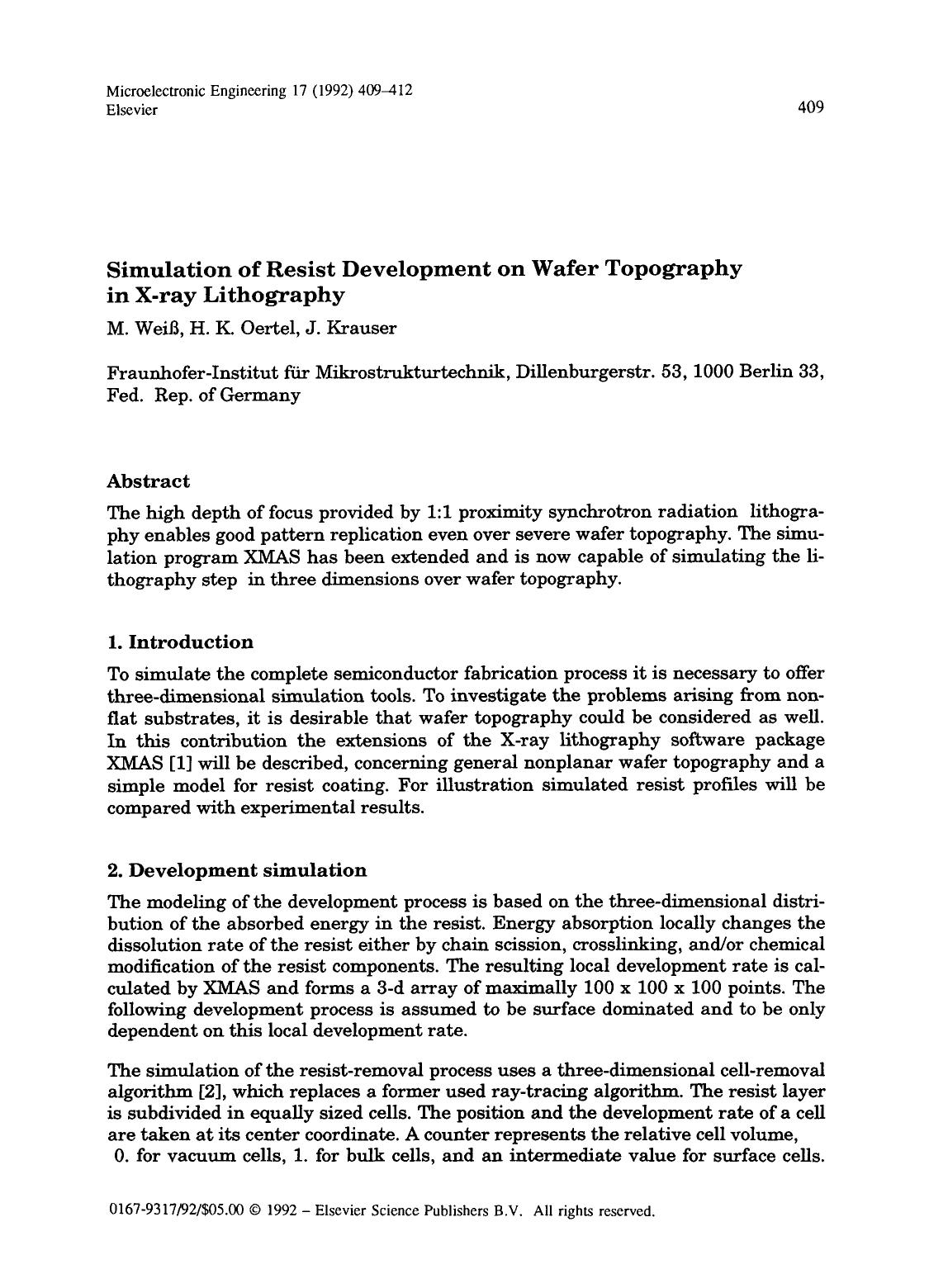 Book cover Simulation of resist development on wafer topography in x-ray lithography