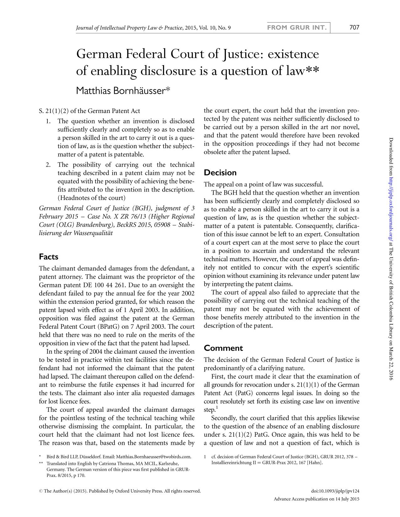 capa de livro German Federal Court of Justice: existence of enabling disclosure is a question of law