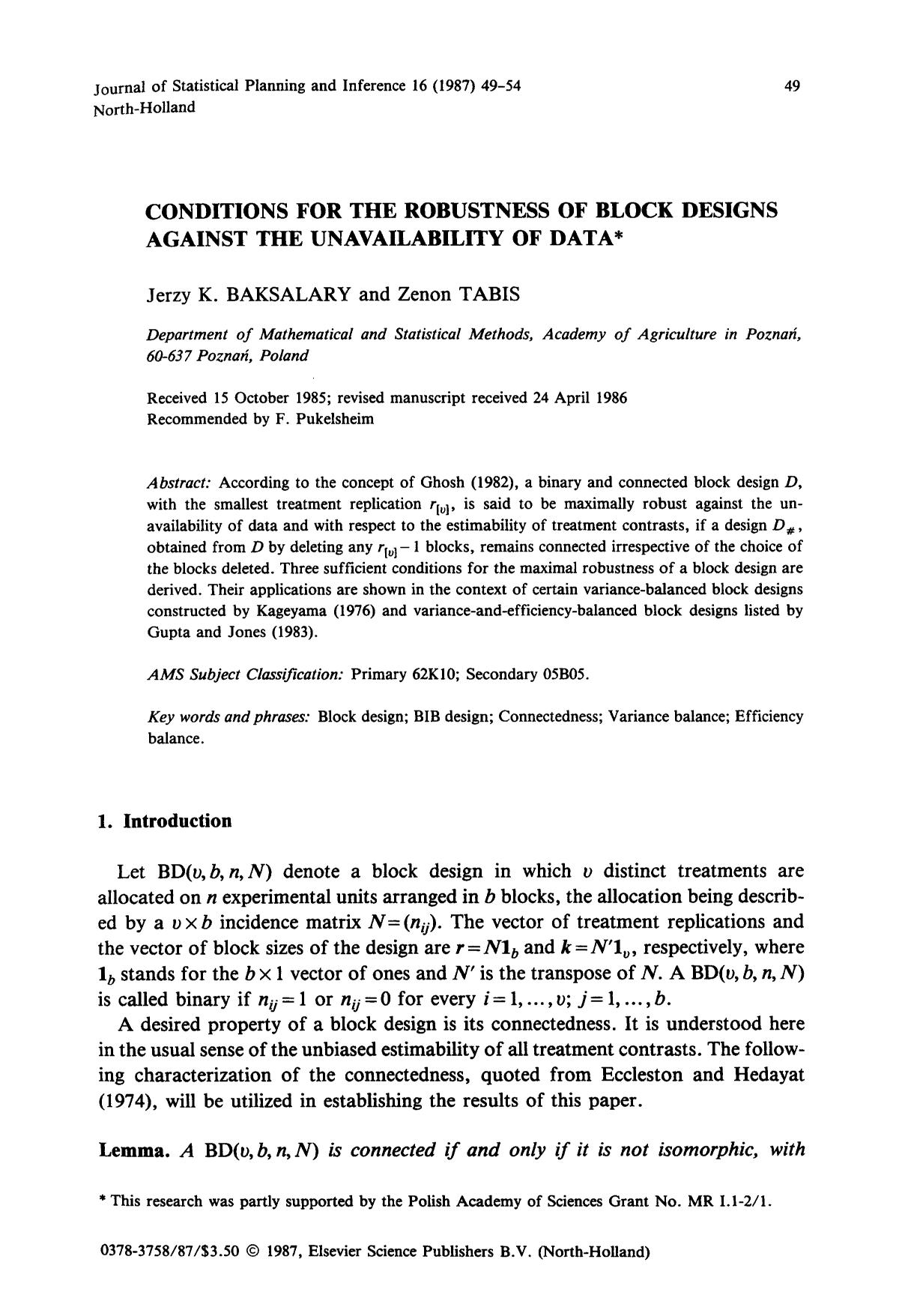 Κάλυψη βιβλίων Conditions for the robustness of block designs against the unavailability of data