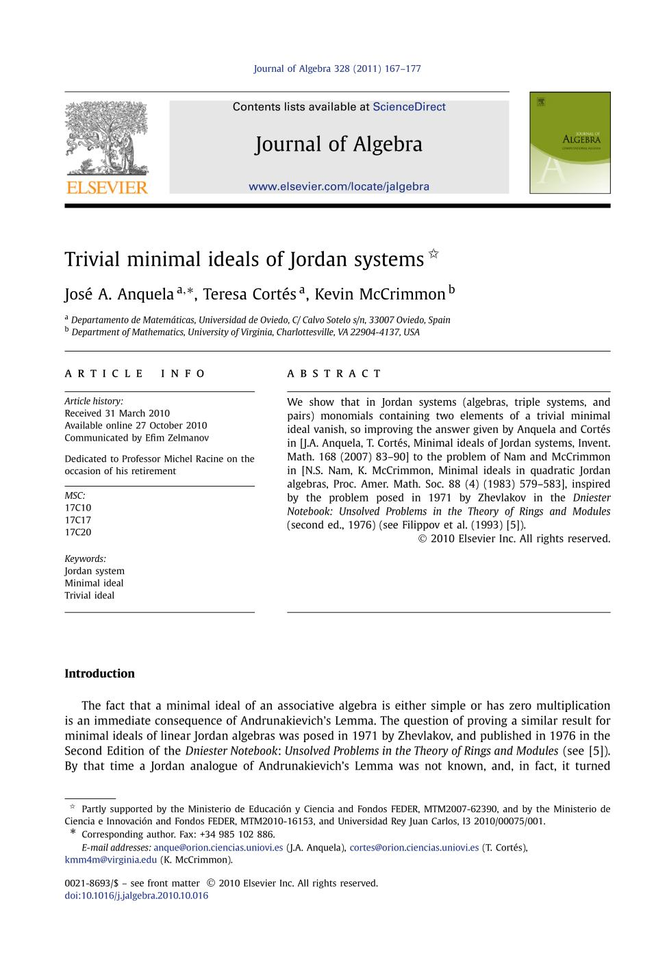 Book cover Trivial minimal ideals of Jordan systems
